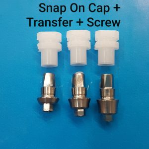 Concave Transfer Abutment + Snap On Cap Internal Hex Wide + screw